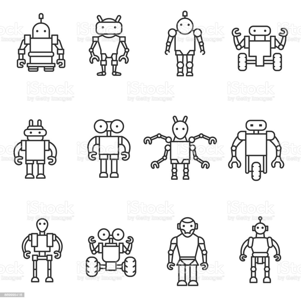 Robot, icons set. vector art illustration