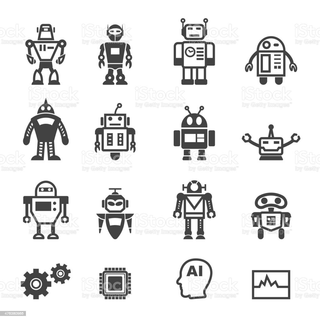 robot icons vector art illustration