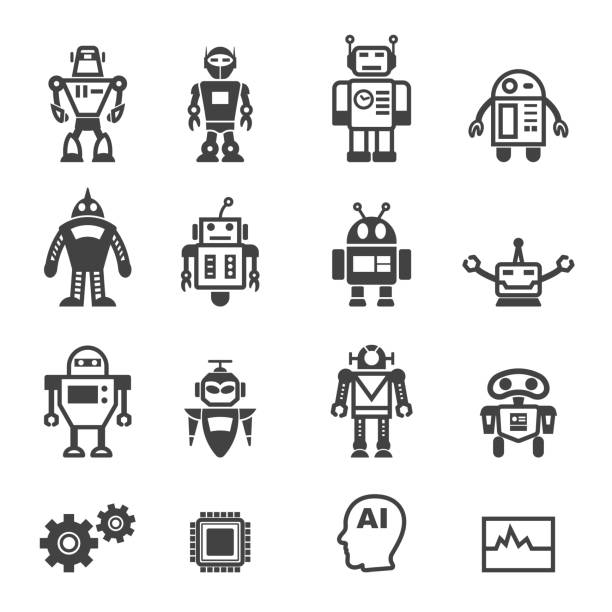 robot icons - robotics stock illustrations, clip art, cartoons, & icons