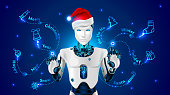 Robot in a red cap of Santa Claus draws on holographic screen Christmas pattern: tree, jingle bell, candy cane, snowflake, sphere, gift. Robot manages organizacia Christmas events or new year's sale.