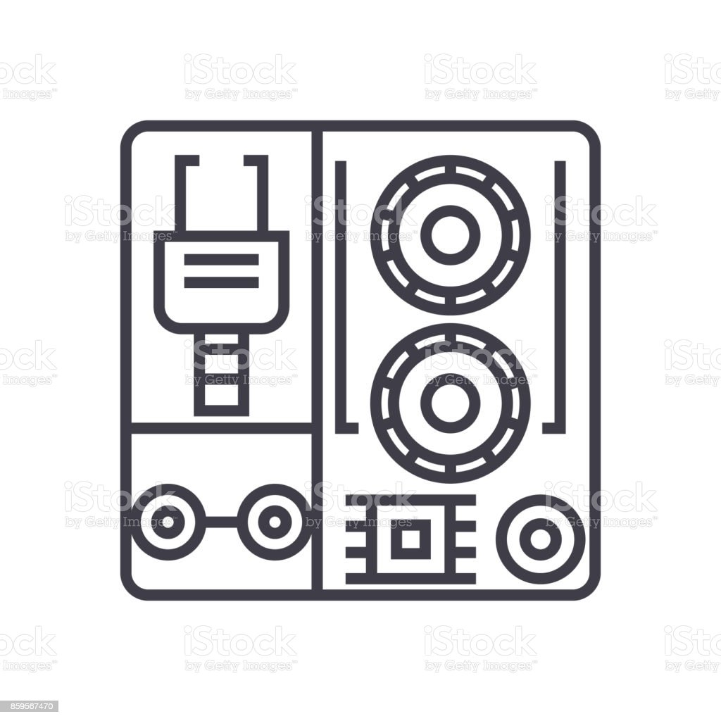 robot industrial kits vector line icon, sign, illustration on background, editable strokes vector art illustration
