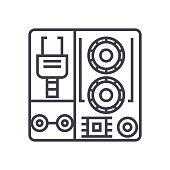 robot industrial kits vector line icon, sign, illustration on background, editable strokes