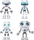 Robot innovation technology science fiction future cute little 3d design vector illustration