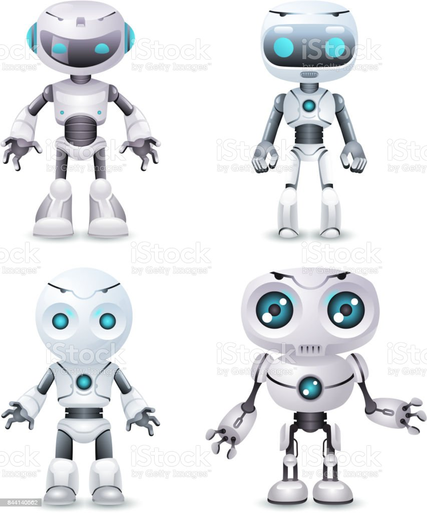 Robot innovation technology science fiction future cute little 3d design vector illustration vector art illustration