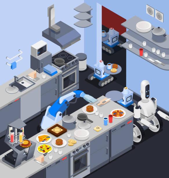ilustraciones, imágenes clip art, dibujos animados e iconos de stock de robot isométrica profesiones composición - busy restaurant kitchen