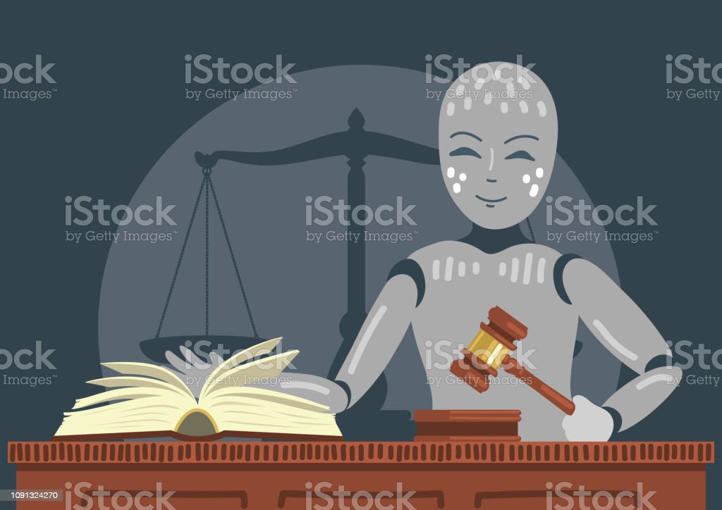 Roboter-Richter mit Hammer und Buch. – Vektorgrafik
