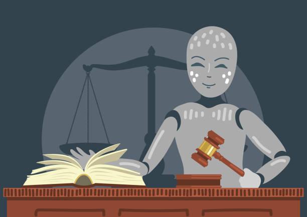 roboter-richter mit hammer und buch. - rechtsassistent stock-grafiken, -clipart, -cartoons und -symbole