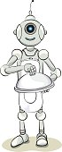 Smiling natured chef robot, vector illustration