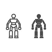 Robot line and solid icon, Kids toys concept, Robotics sign on white background, Robot Baby Toy icon in outline style for mobile concept and web design. Vector graphics