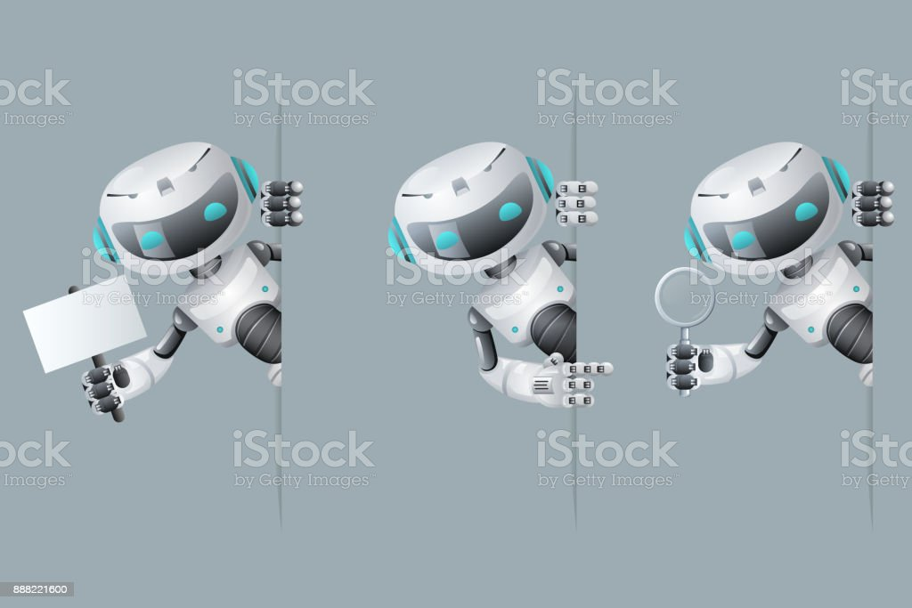 Robot look out corner poster in hand pointing on banner hold magnifying glass technology science fiction future cute little sale 3d design vector illustration