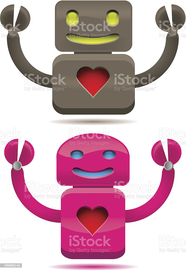 Robot love royalty-free stock vector art