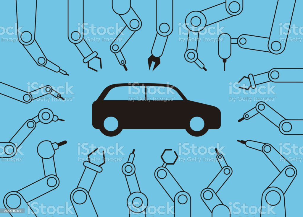 robot machine arms get together focus on the car, Automatic factory vector art illustration