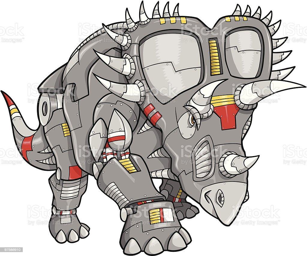 Robot Machine Triceratops Dinosaure robot machine triceratops dinosaure – cliparts vectoriels et plus d'images de acier libre de droits