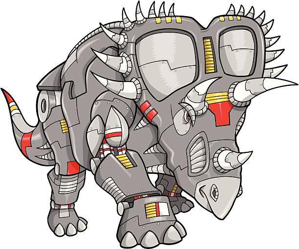 Robot Machine Triceratops Dinosaur vector art illustration