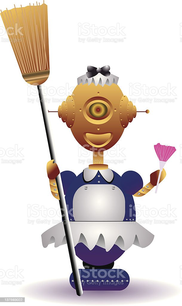 robot maid royalty-free stock vector art