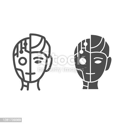 istock Robot man line and solid icon, Robotization concept, Neuro Interface sign on white background, Digital bionic cyborg face icon in outline style for mobile concept and web design. Vector graphics. 1281739369
