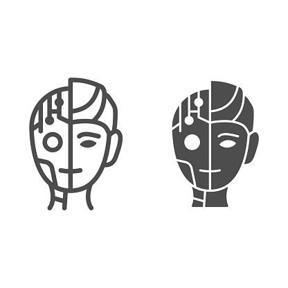 Robot man line and solid icon, Robotization concept, Neuro Interface sign on white background, Digital bionic cyborg face icon in outline style for mobile concept and web design. Vector graphics.