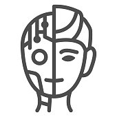 Robot man line icon, Robotization concept, Neuro Interface sign on white background, Digital bionic cyborg face icon in outline style for mobile concept and web design. Vector graphics