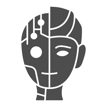Robot man solid icon, Robotization concept, Neuro Interface sign on white background, Digital bionic cyborg face icon in glyph style for mobile concept and web design. Vector graphics.