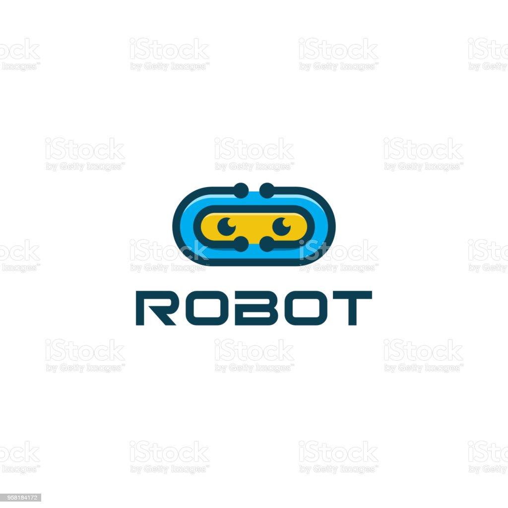 Robot mascot vector logo desin vector art illustration