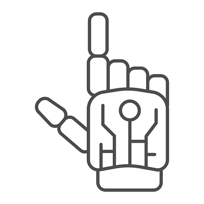 Robot mechanical arm thin line icon, Robotization concept, robotic hand sign on white background, robotic human hand icon in outline style for mobile concept and web design. Vector graphics.
