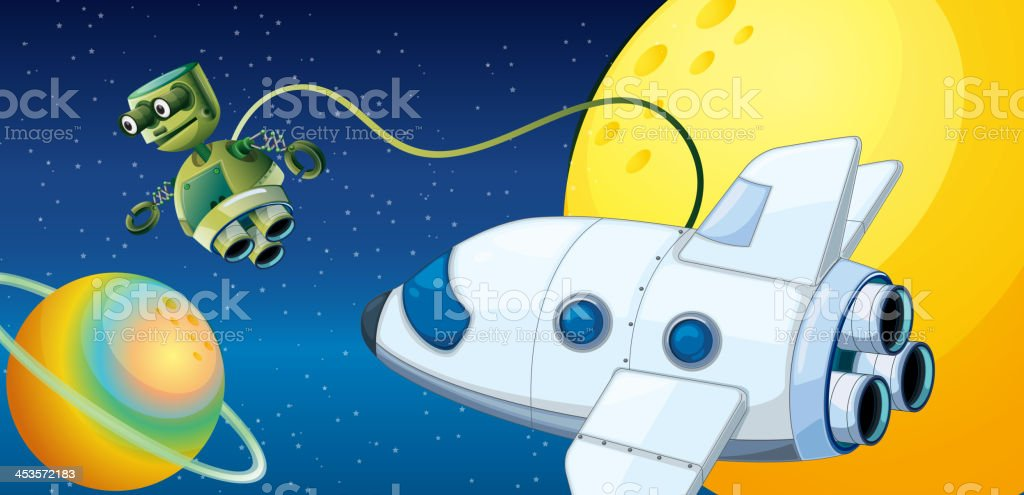 Robot near planet with an orbit royalty-free robot near planet with an orbit stock vector art & more images of aerial view