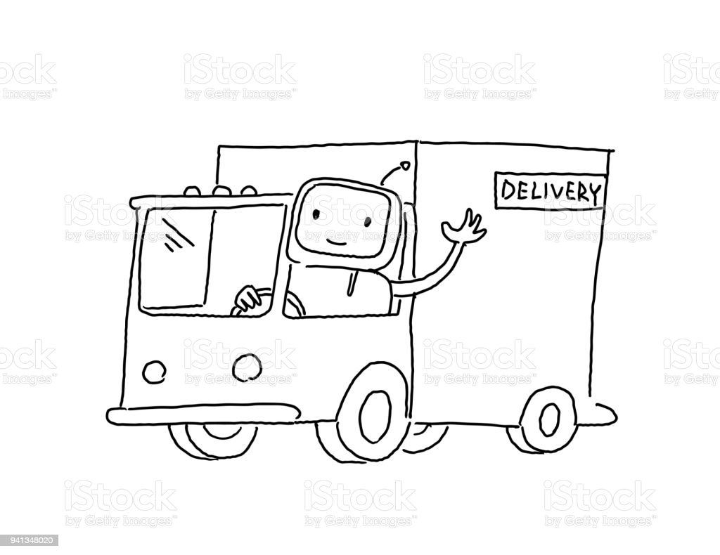 Robot On The Truck Goods Delivery Sketch Drawing By Hand Hand Drawn ...
