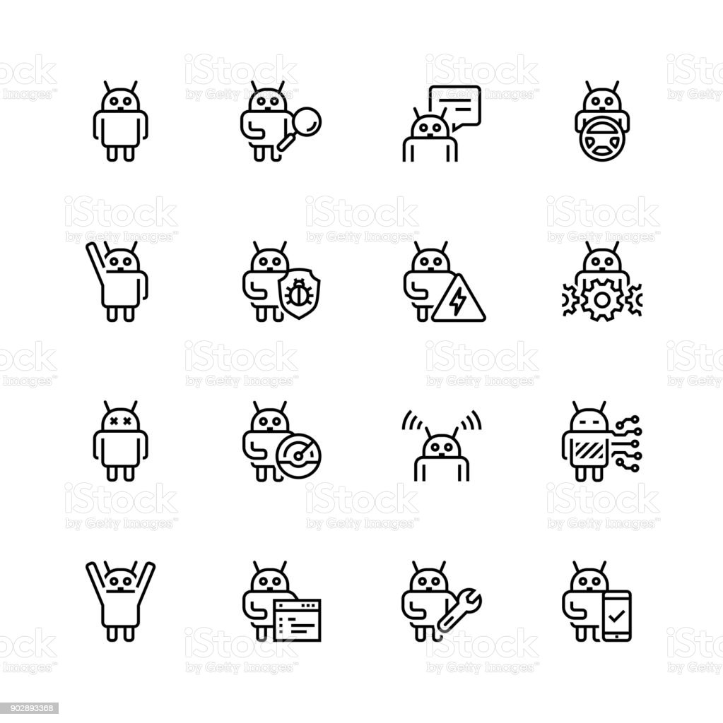 Robot or bot related vector icon set in thin line style