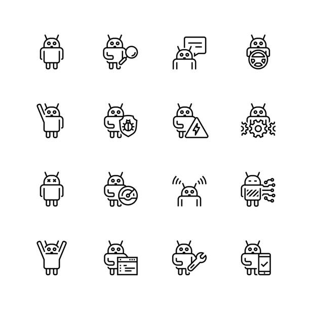 robot or bot related vector icon set in thin line style - robotics stock illustrations, clip art, cartoons, & icons