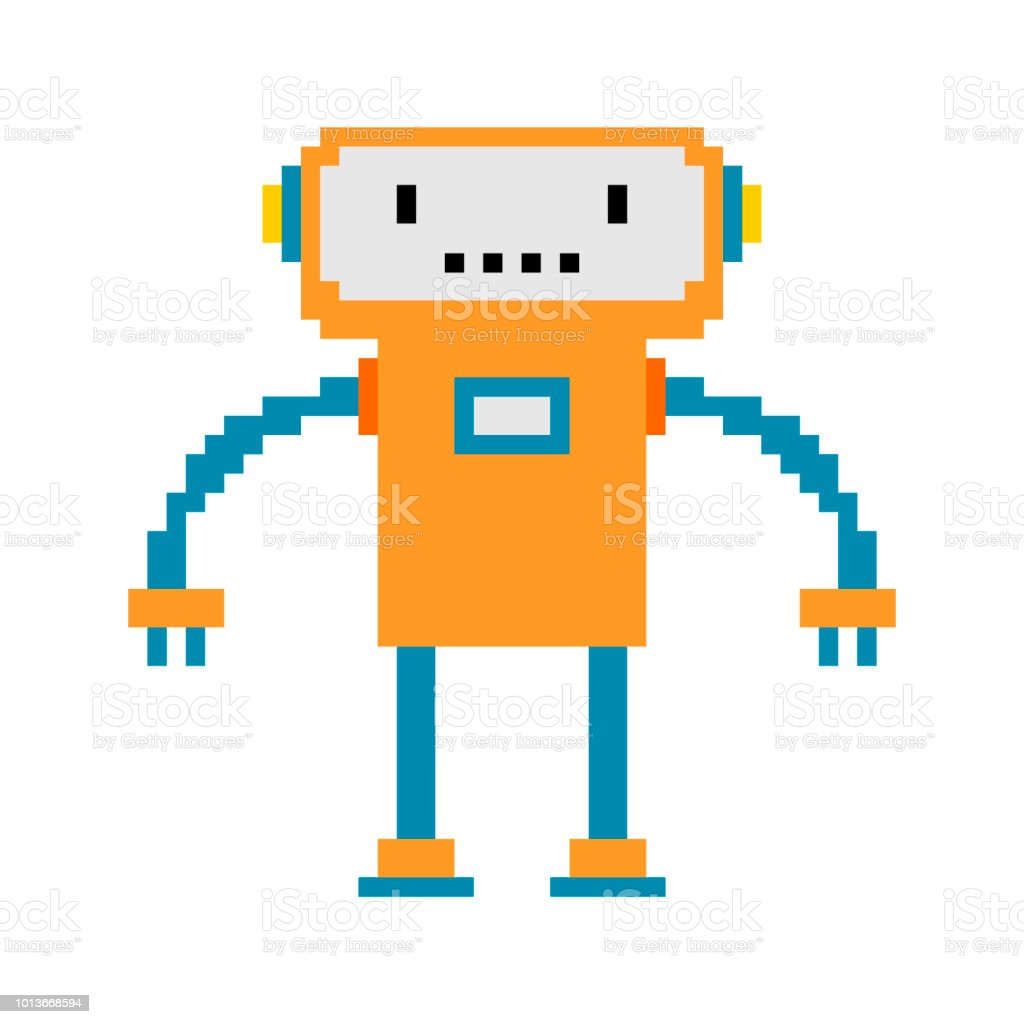 Robot pixel art. 8 bit cyborg. Digital technology toy Vector illustration vector art illustration