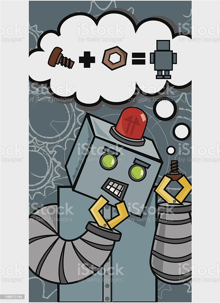 Robot Ponders Creation royalty-free stock vector art