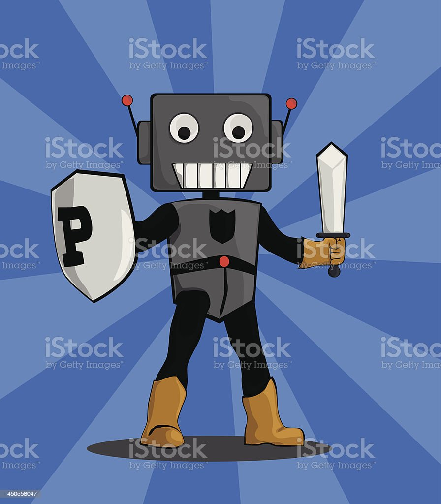 Robot Protector royalty-free robot protector stock vector art & more images of defending
