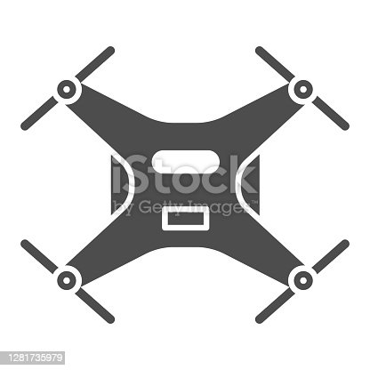 istock Robot Quadcopter solid icon, Robotization concept, aerial drone for photography or video surveillance sign on white background, Quadcopter icon in glyph style for mobile. Vector graphics. 1281735979