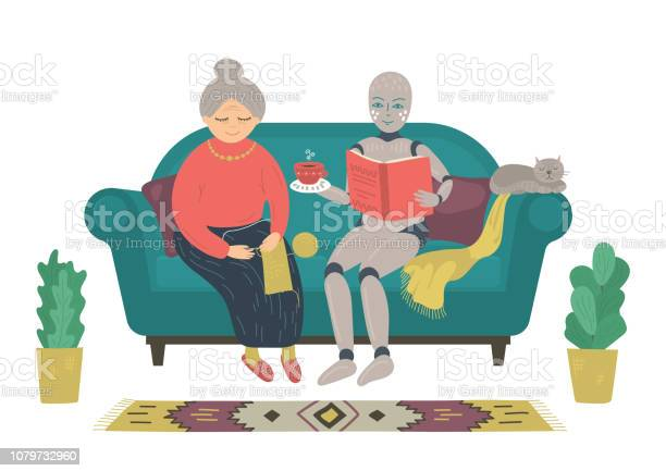 Robot reading book to senior woman sitting on sofa at home vector id1079732960?b=1&k=6&m=1079732960&s=612x612&h=flao3knao4dv0dkilteci8xvt7c9vkyyklzd7c6rwcy=