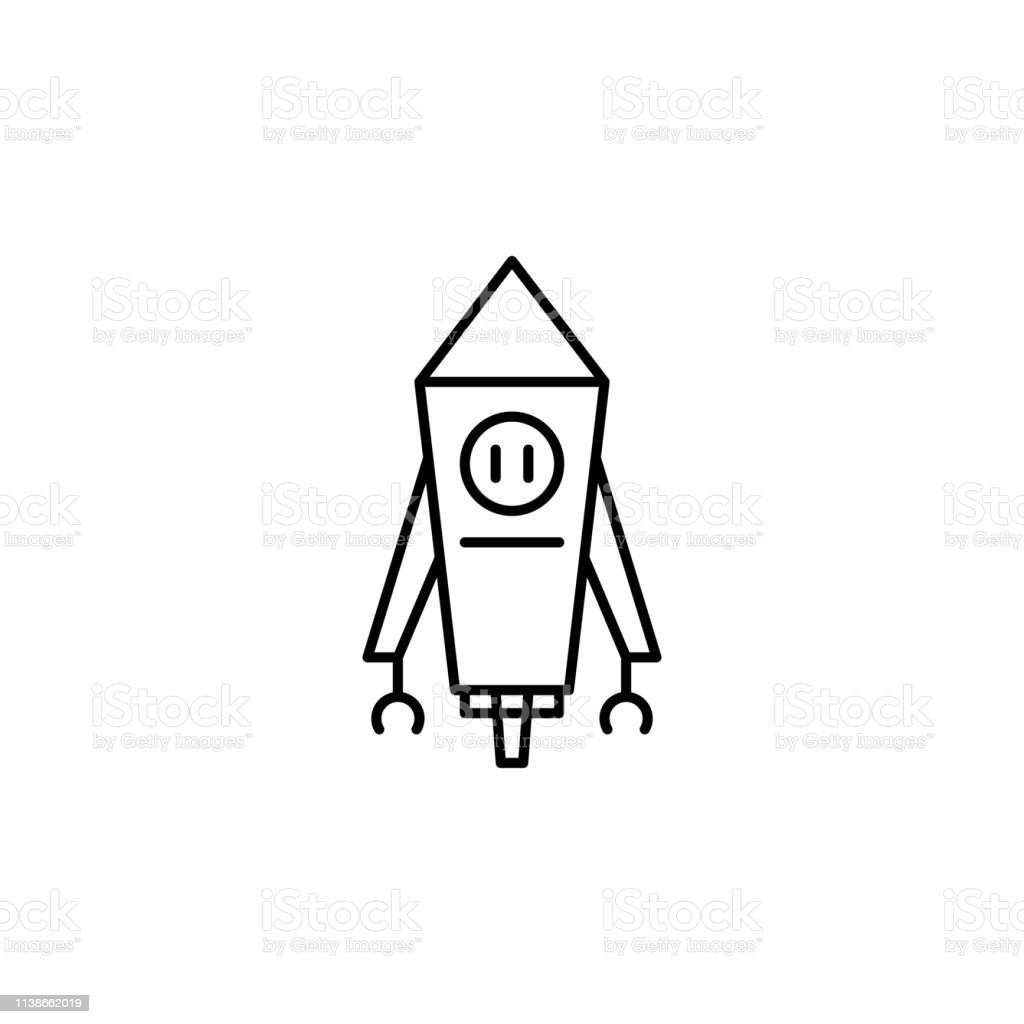 Robot Rocket Outline Icon Signs And Symbols Can Be Used For