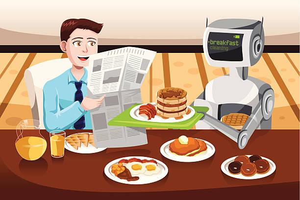 Robot serving breakfast vector art illustration