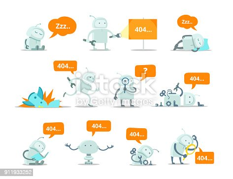 istock Robot Set 404 error page not found vector Crash accident funny Cosmonaut running repairs 911933252
