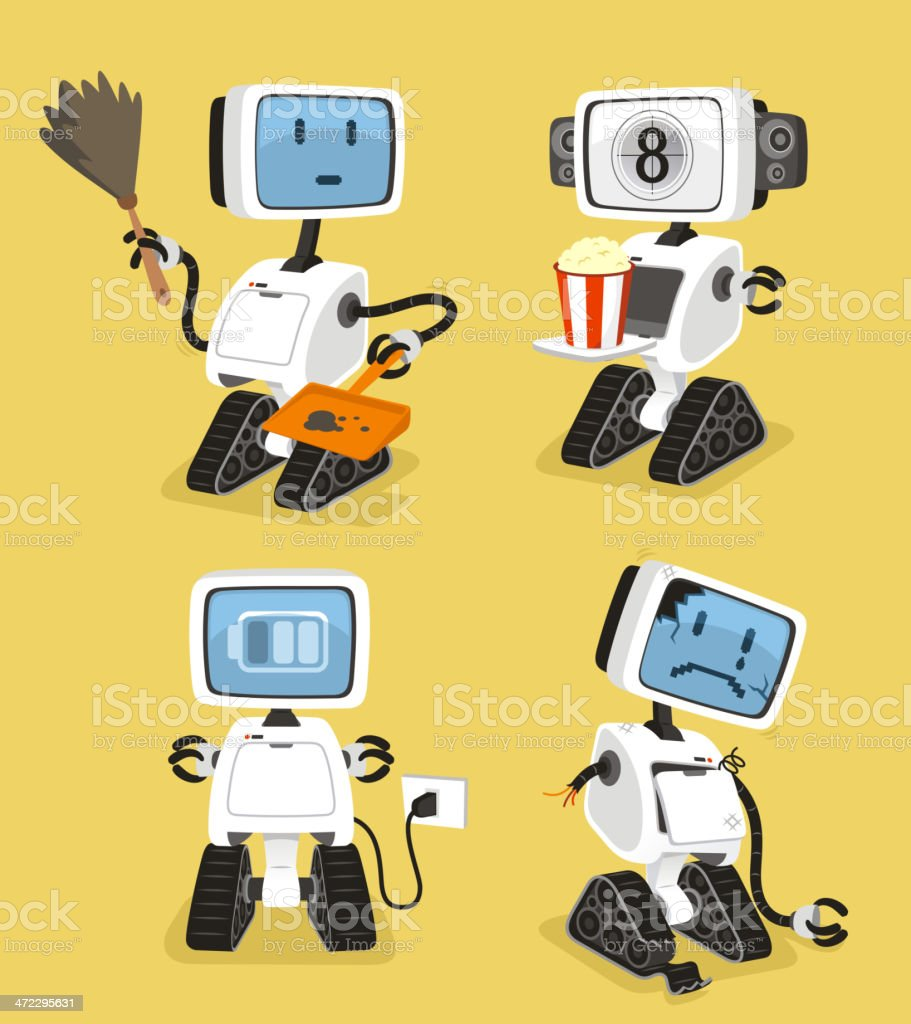 Robot Set with happy cleaning popcorn charging sad robots royalty-free robot set with happy cleaning popcorn charging sad robots stock vector art & more images of anger