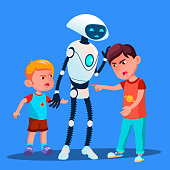 Robot Sets Apart Two Boys Fighting Kids Vector. Isolated Illustration