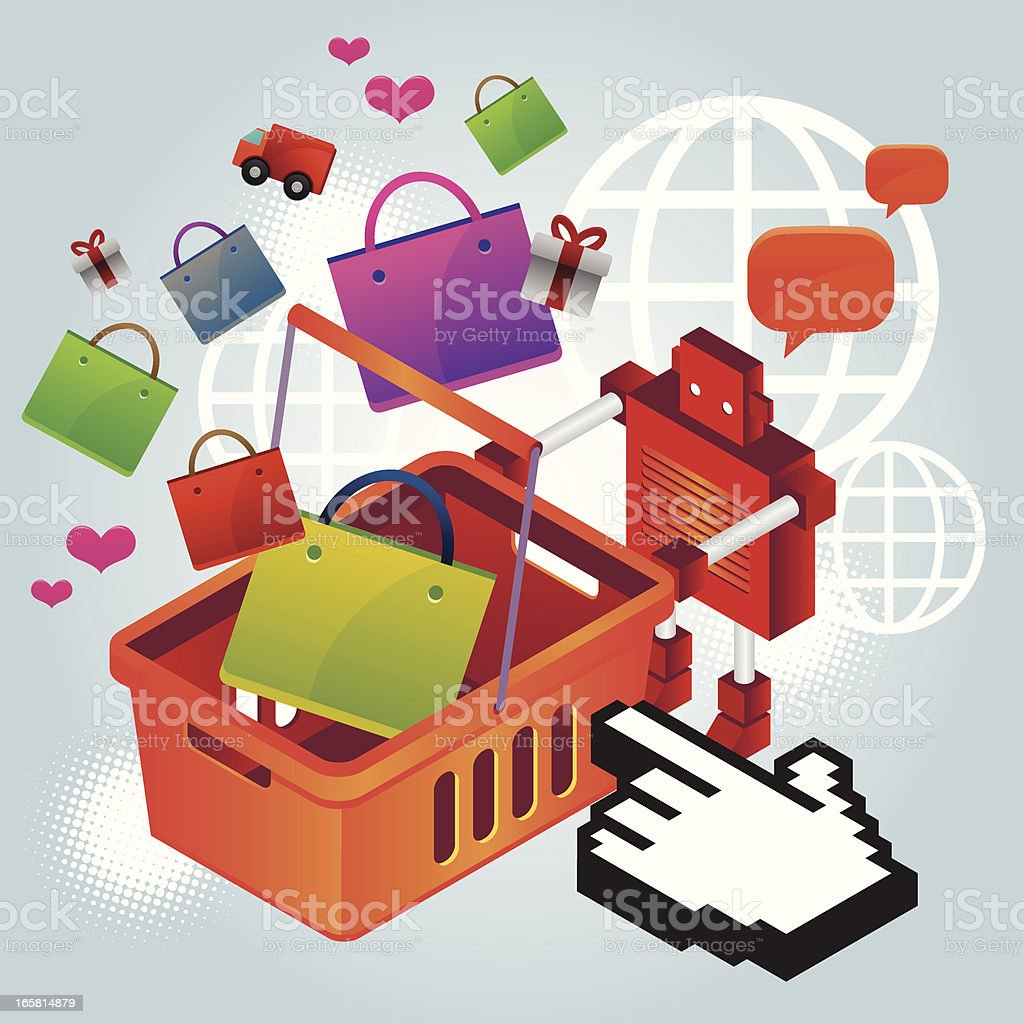 Robot shopping royalty-free stock vector art