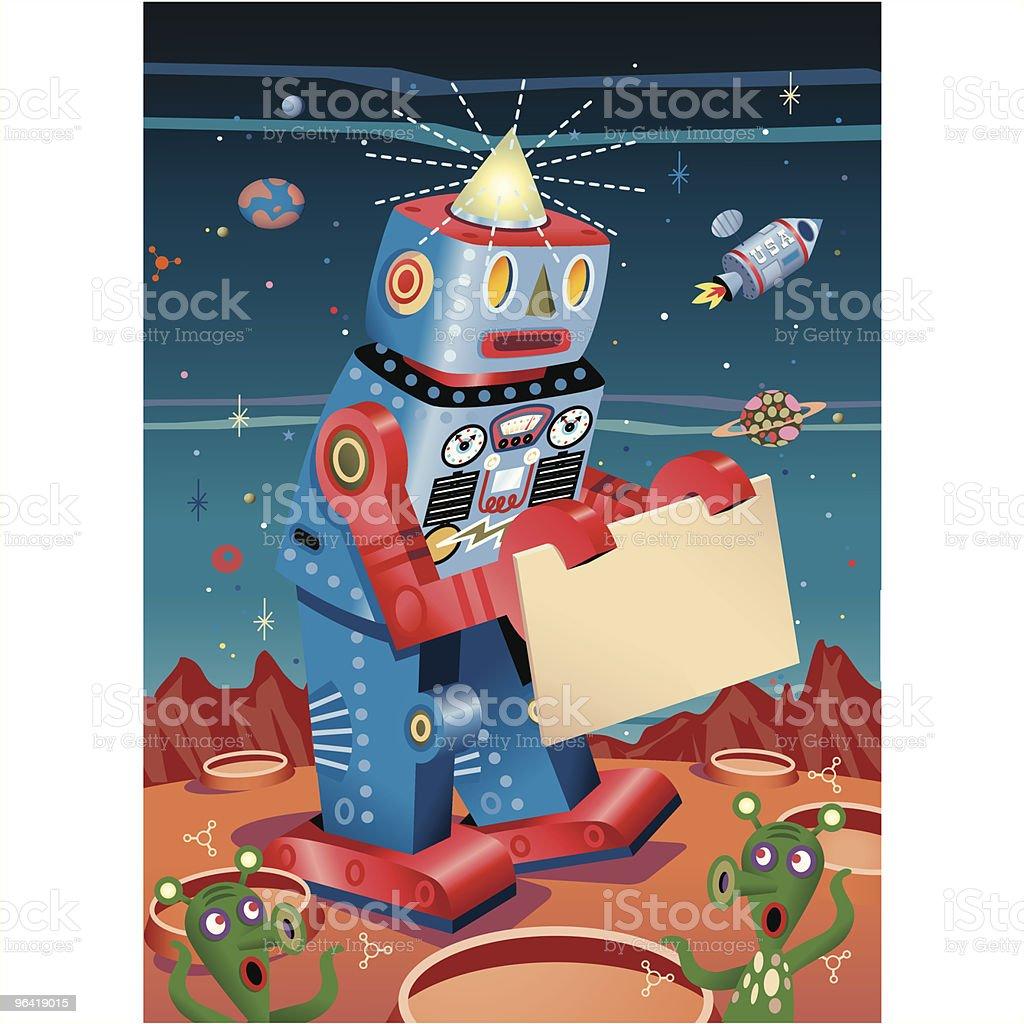 Robot Sign board on Mars royalty-free stock vector art