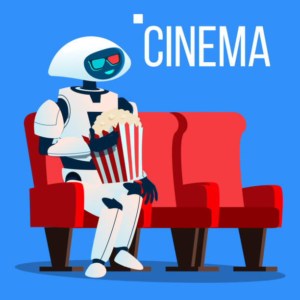 roboter sitzt auf sessel im kino in 3d brille und hält popcorn in händen vektor. isolierte illustration - funktionssofa stock-grafiken, -clipart, -cartoons und -symbole