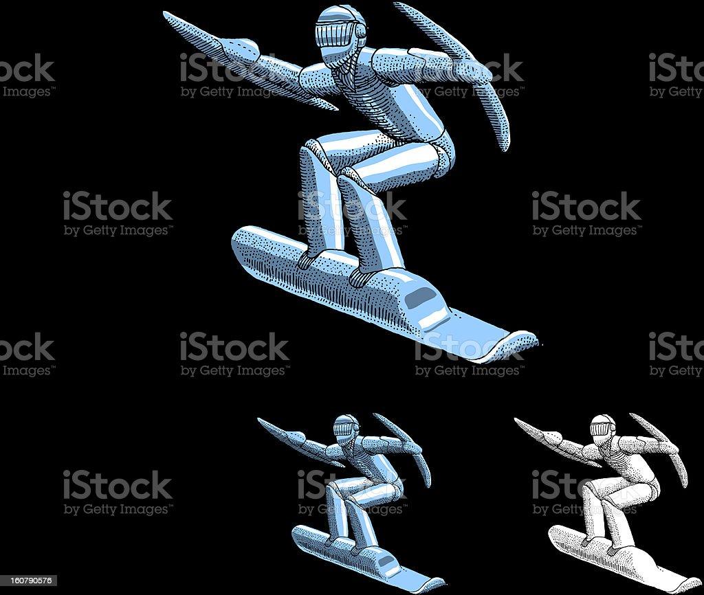 Robot Surfer vector art illustration