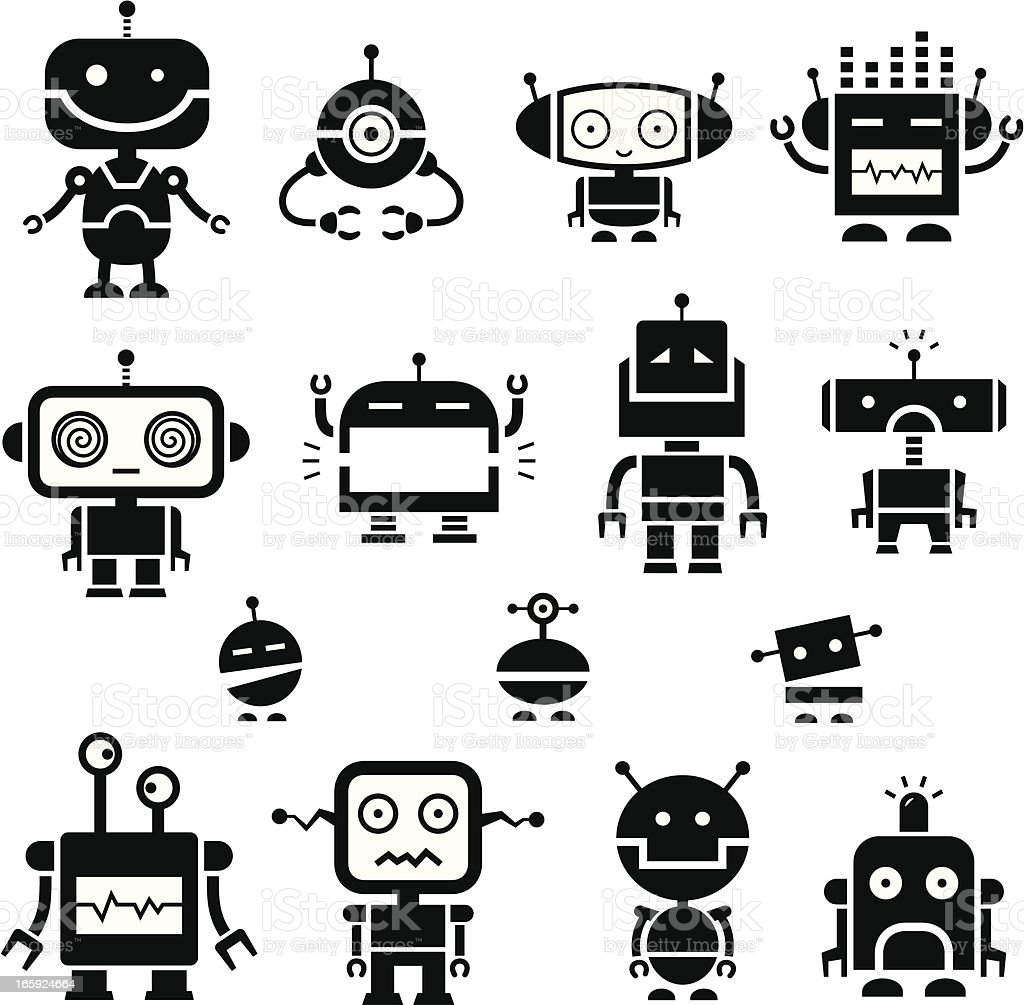 Robot Symbols 2 Stock Vector Art More Images Of Anger 165924664