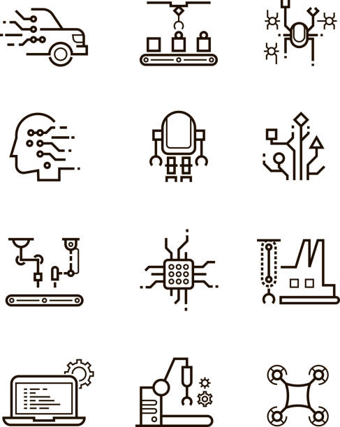 Robot technology and robotic machinery line vector icons. Artificial intelligence symbols vector art illustration