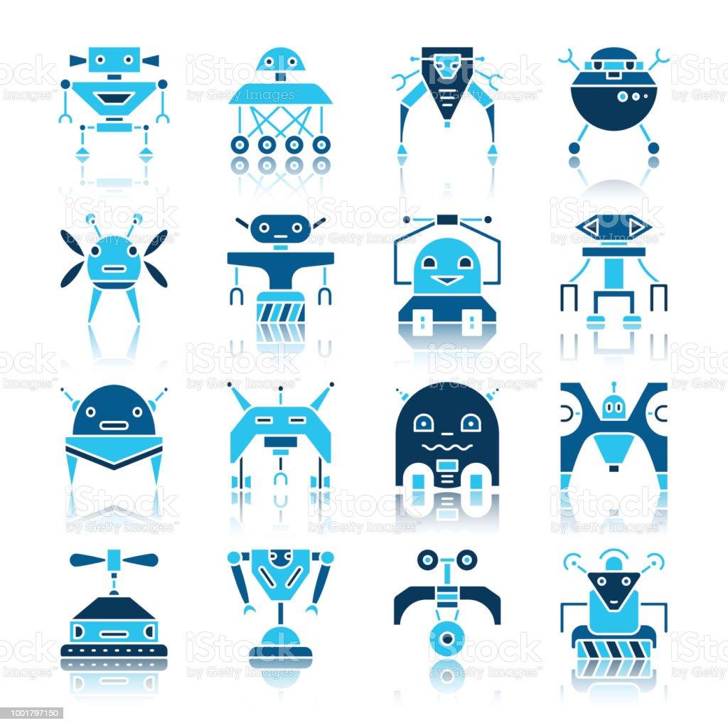 Robot Transformer Color Flat Icon Set Stock Illustration