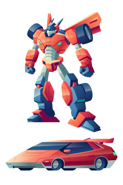 Robot transforming in sport car cartoon vector Red battle robot capable to transform in sport car cartoon vector character isolated on white background. Alien battle machine, controlled by AI cybernetic organism, children popular toy illustration transformer stock illustrations