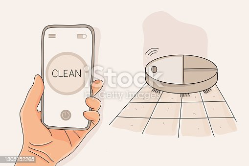 Robot Vacuum Cleaner Cleaning the Room, Vector Illustration