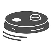 istock Robot vacuum cleaner solid icon, Robotization concept, modern cleaning equipment sign on white background, robotic vacuum cleaner icon in glyph style for mobile and web. Vector graphics. 1281736008