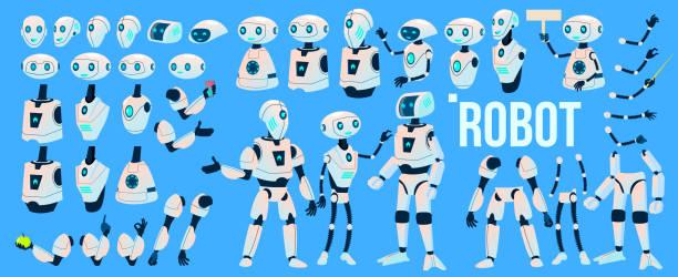 ilustraciones, imágenes clip art, dibujos animados e iconos de stock de vectores de robot. sistema de animación. mecanismo robot ayudante. cyborgs, personaje humanoide futurista de ai. inteligencia artificial animado. diseño web. tecnología robótica aislados ilustración - robot